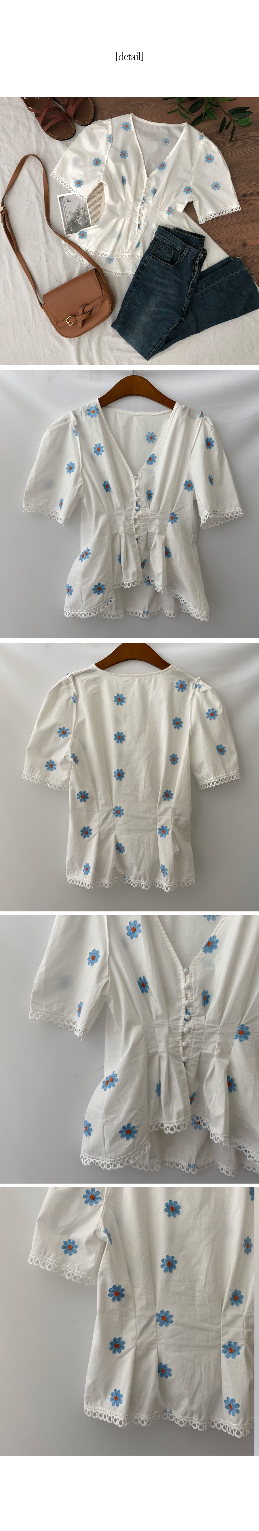 Blue flower embroidered blouse