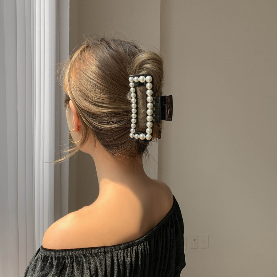 Square Hall Pearl Tongs Hairpin