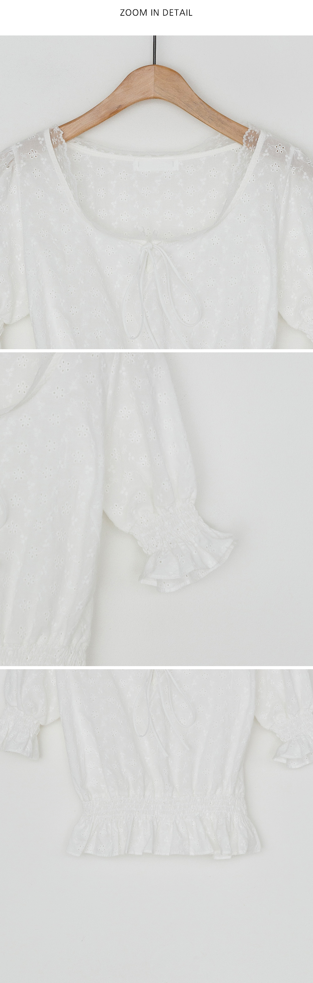 Punching lace shirring banding blouse