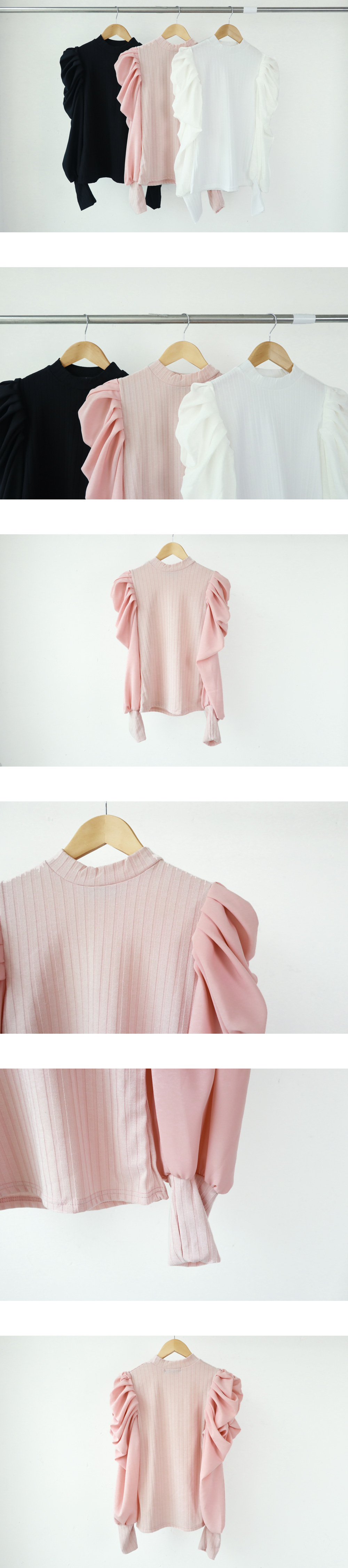 Sleeve puff ribbed t-shirt