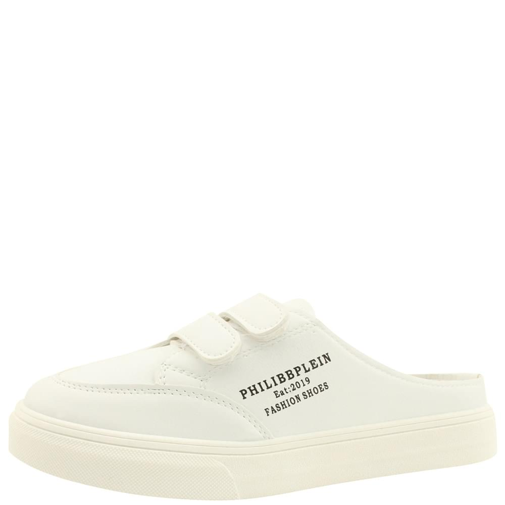 Velcro Sneakers Mule Slippers White