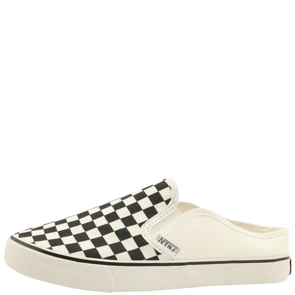 Checkered Canvas Slip-on Mule Slippers