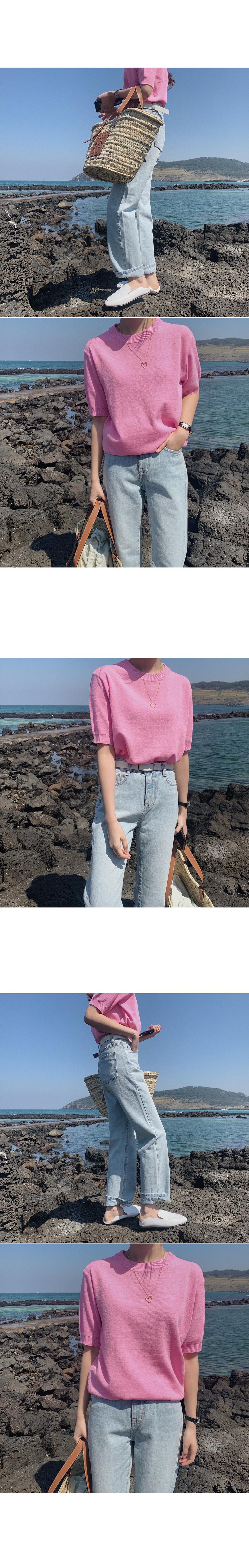 Spurt color short-sleeved knit