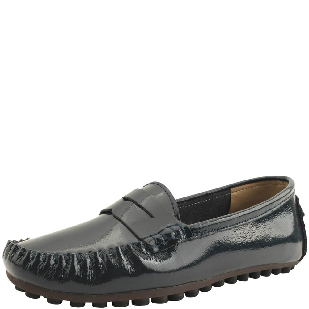 Cowhide Enamel Driving Shoes Navy