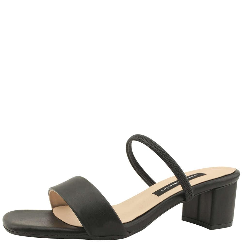 Banding Mary Jane Middle Heel Slippers Black