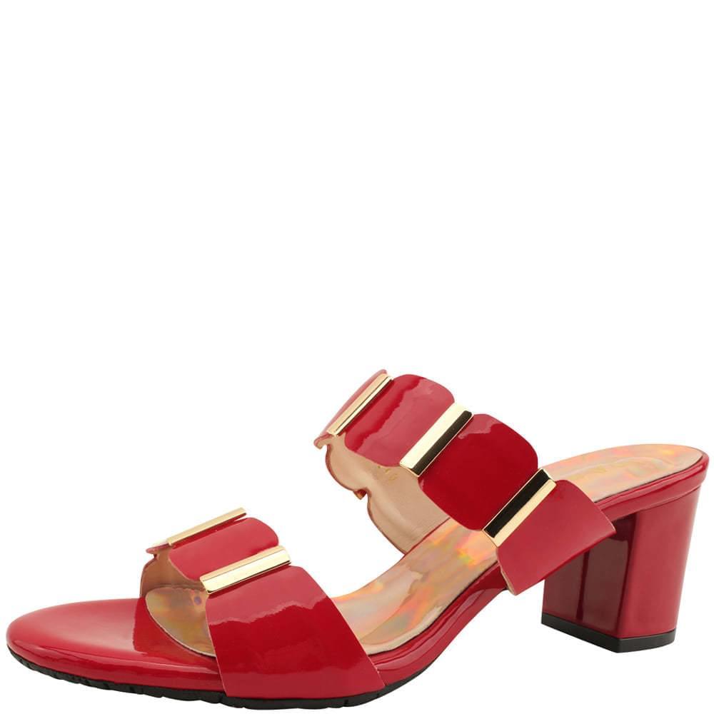 Metal Enamel Mule Middle Heel Slippers Red