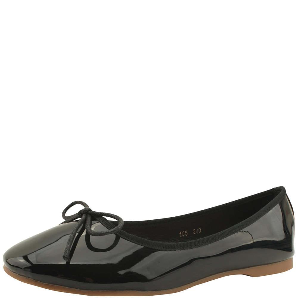 Round Toe Enamel Ribbon Flat Shoes Black