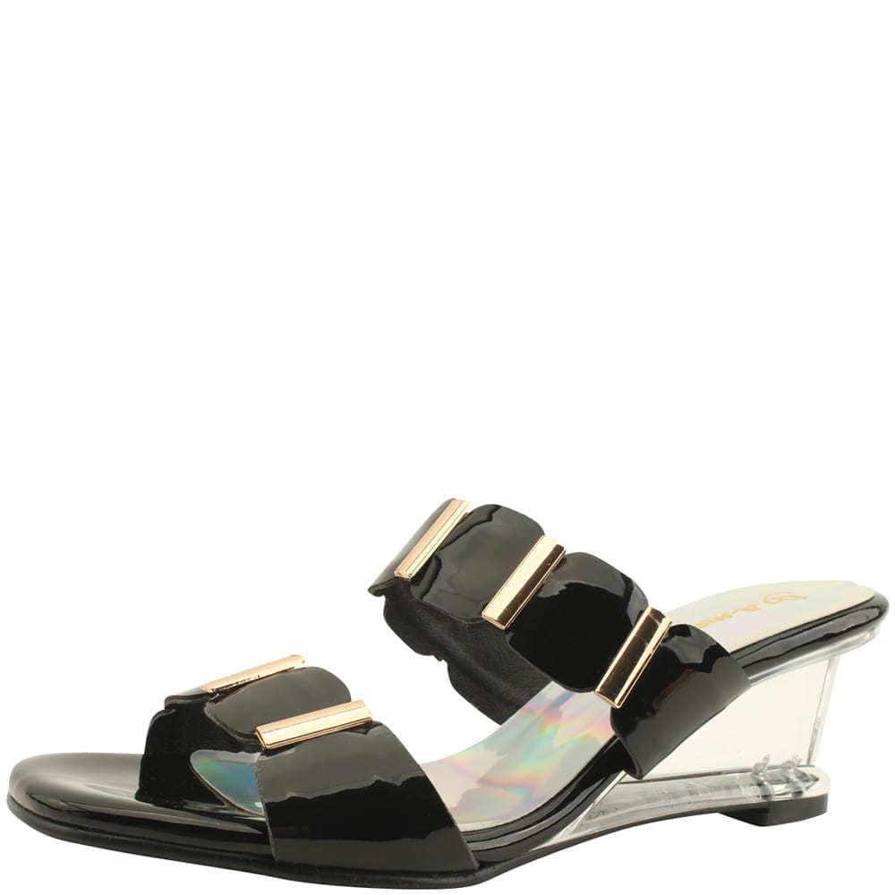 Unique Wedge Middle Heel Mule Slippers Black
