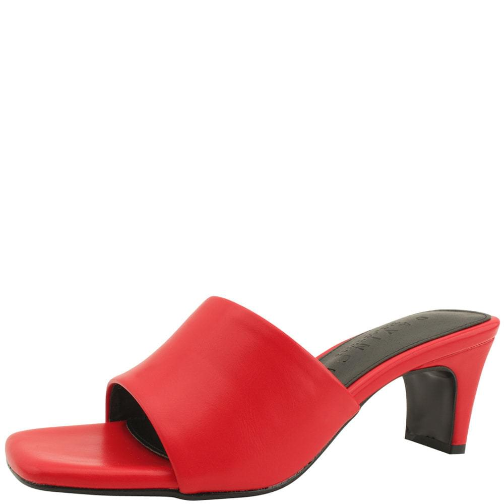 Square Toe Middle Heel Mule Slippers Red