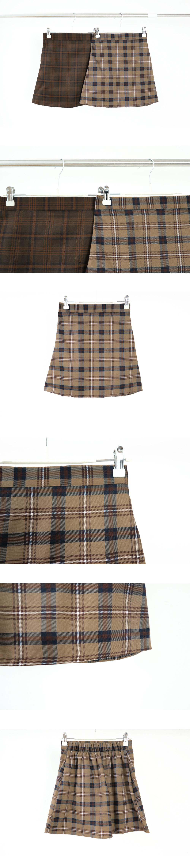 Macaron A-line check mini skirt