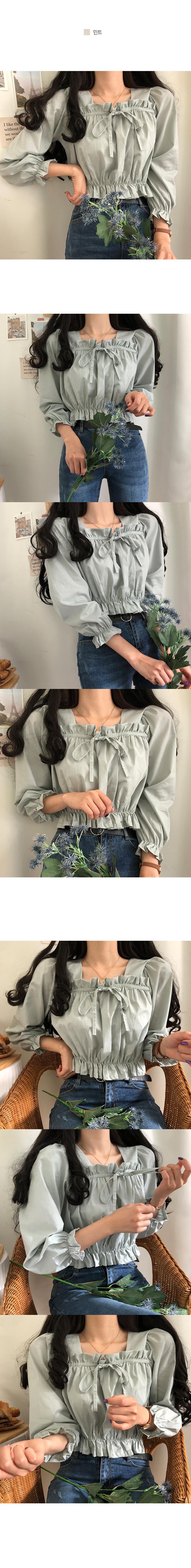 Bringsum ruffled ribbon long-sleeved blouse