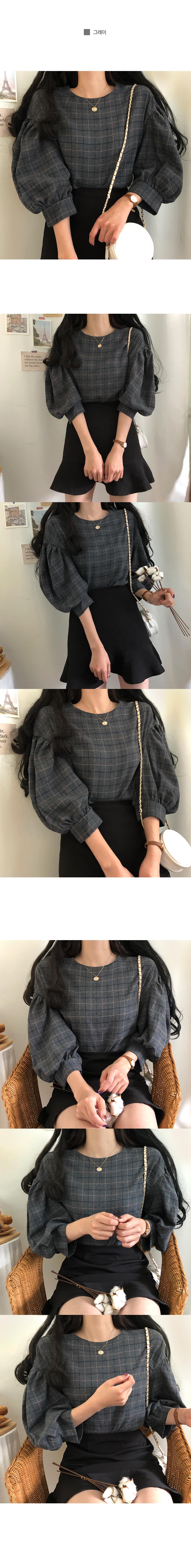 Monaca puff check blouse