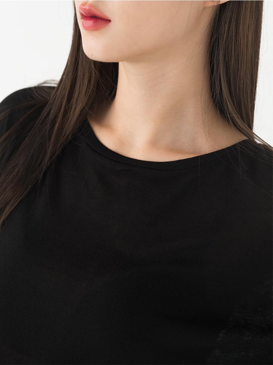 Round neck basic plain tencelti