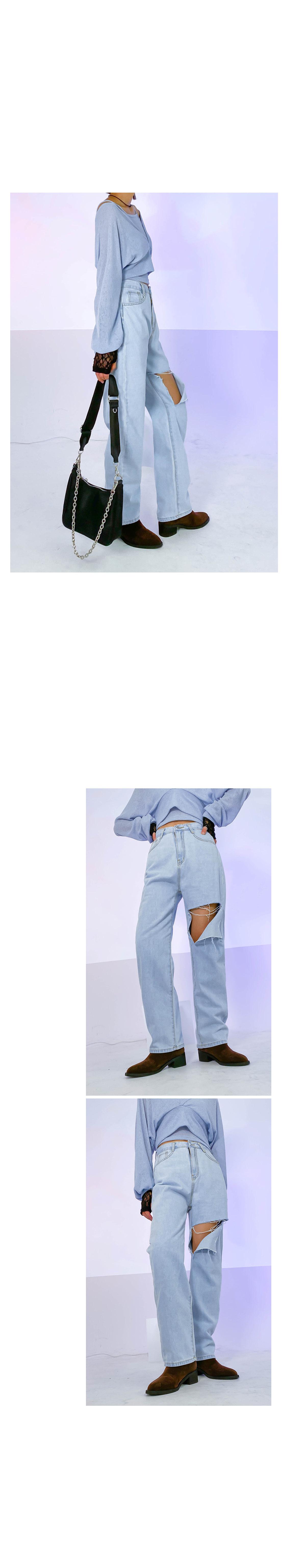 Cutting Leah Denim Wide Pants
