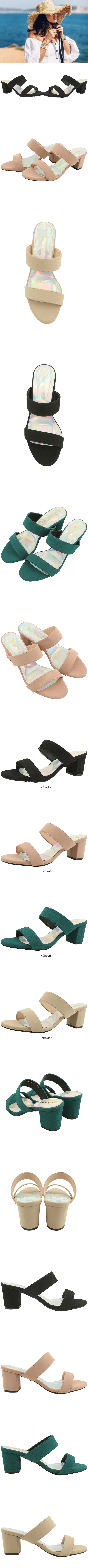 Basic Strap Mule Middle Heel Slippers Beige