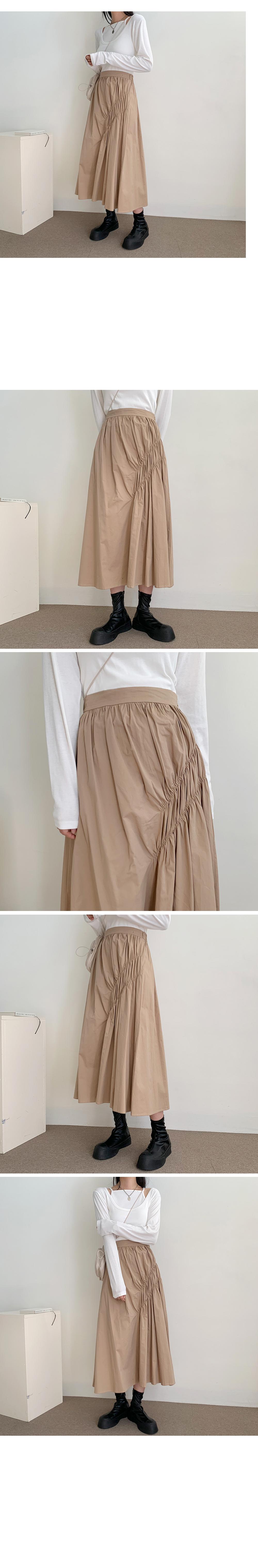 Unbald Shirring Long Skirt