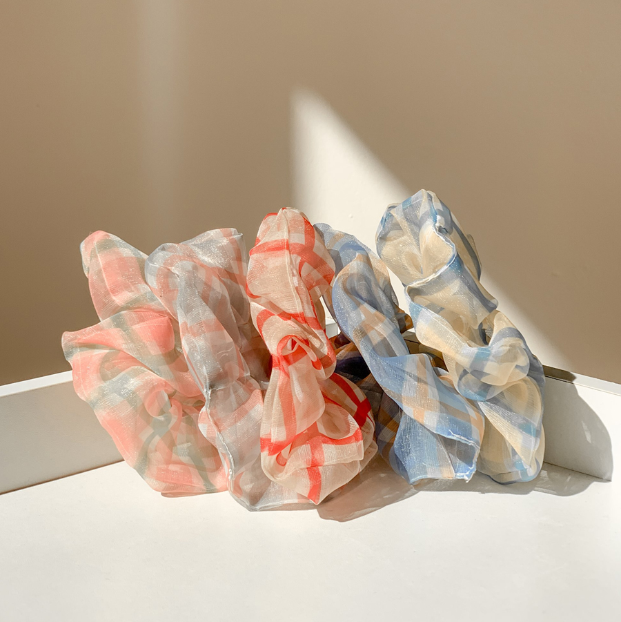 Chiffon vivid check gible hair strap