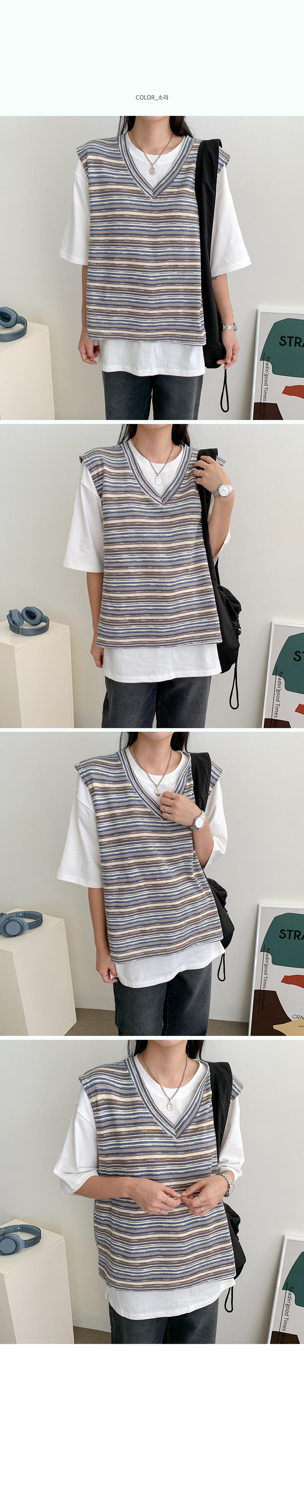 Barba Multi Striped Knitwear Vest