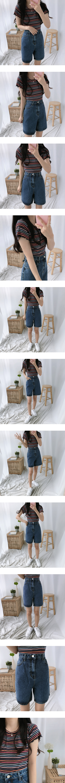 Doremi slim wavy short-sleeved T-shirt