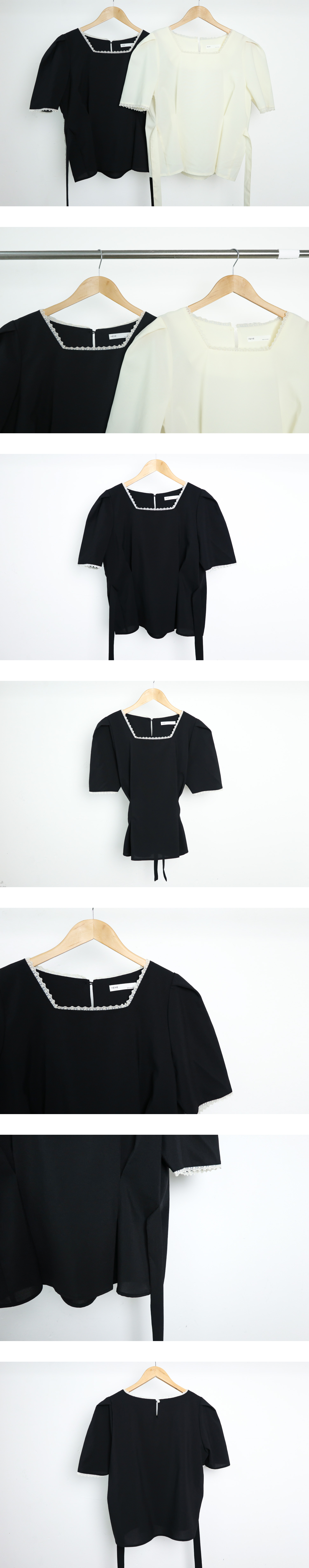 Darling lace-neck short-sleeved blouse