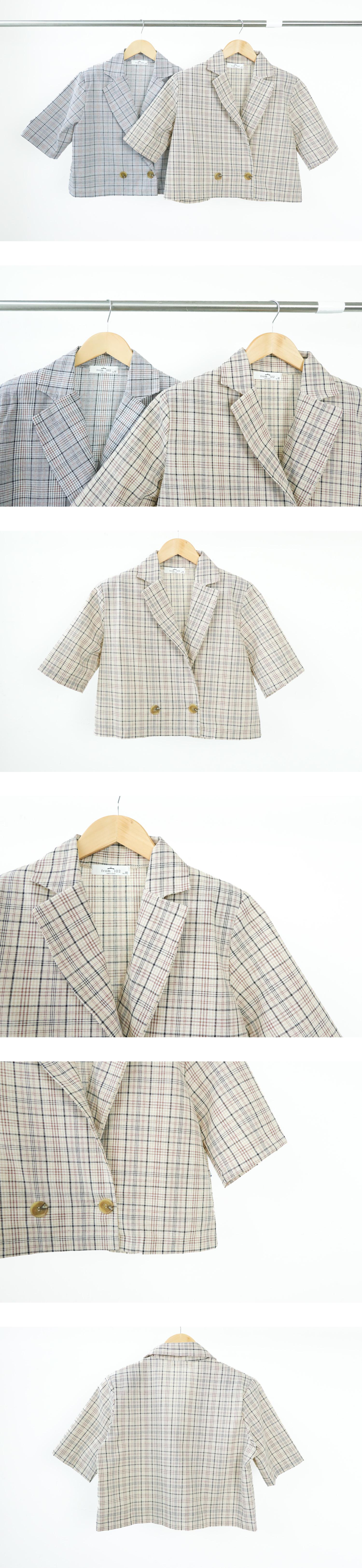 Macaron short-sleeved cropped jacket