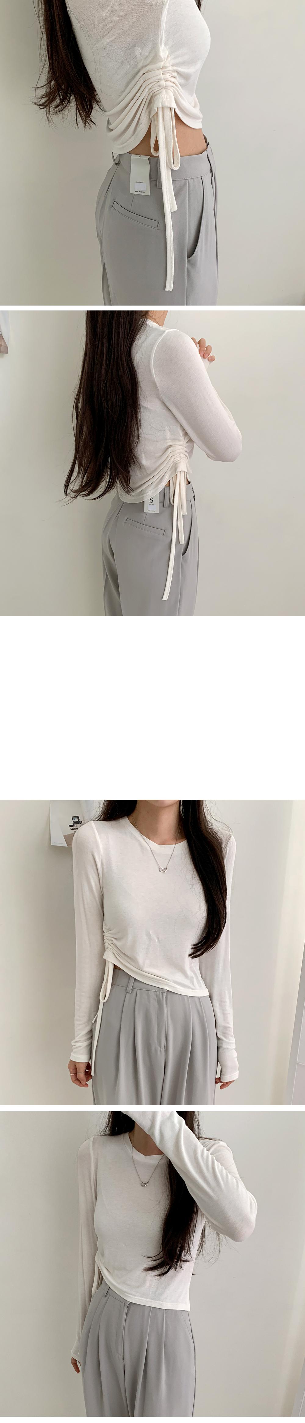 Glam Shirring Long Sleeve Tee
