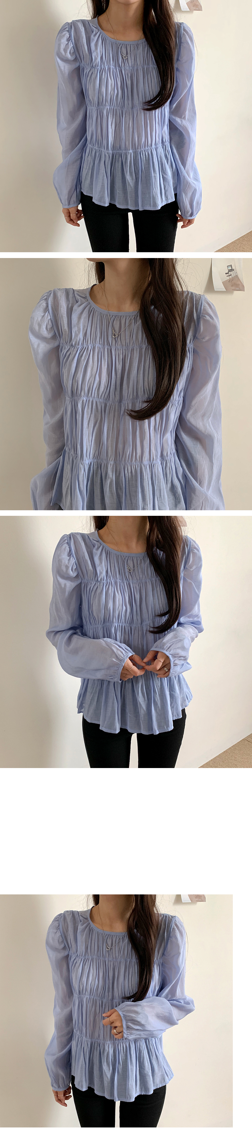 Hera wrinkle shirring blouse