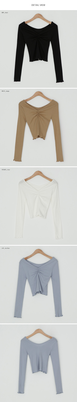 Slim Fit Shirred Ruffle T-shirt