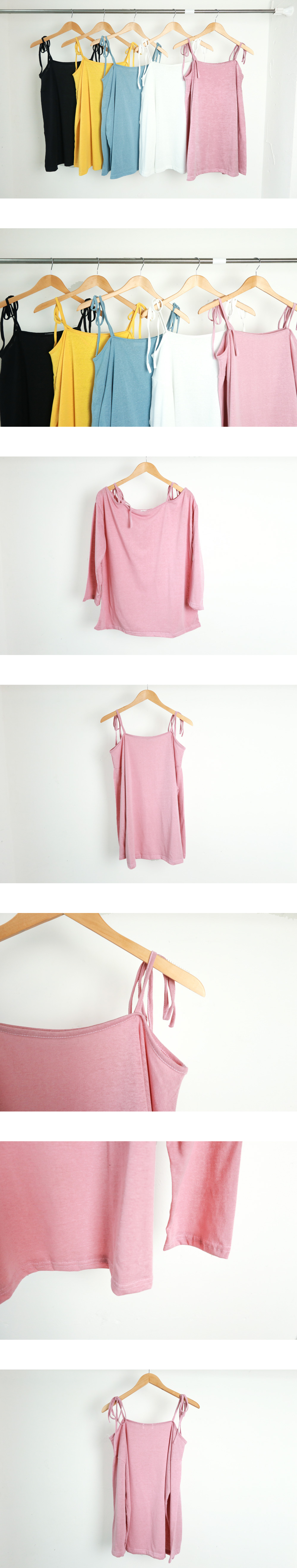 Shoulder ribbon off shoulder t-shirt