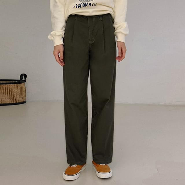 Color Stitch Pintuck Wide Pants