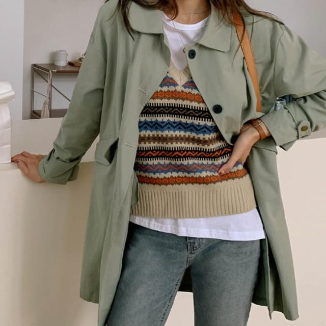 Sleeve Strap Loose Fit Collar Neck Coat