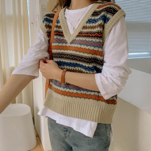 Jacquard Pattern Vintage Knit Vest 針織外套