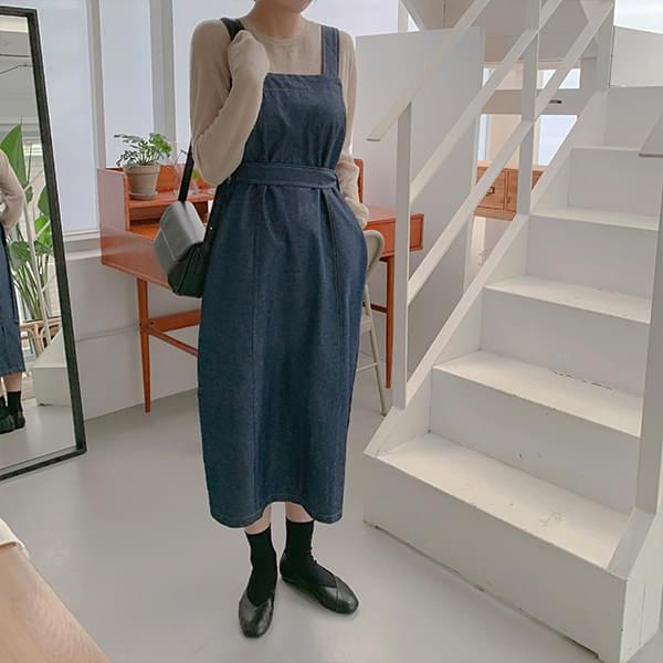 Smoothie Mohair Knit + Denim Bustier Dress