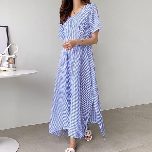Wrinkle-free check pin tuck long dress #37656