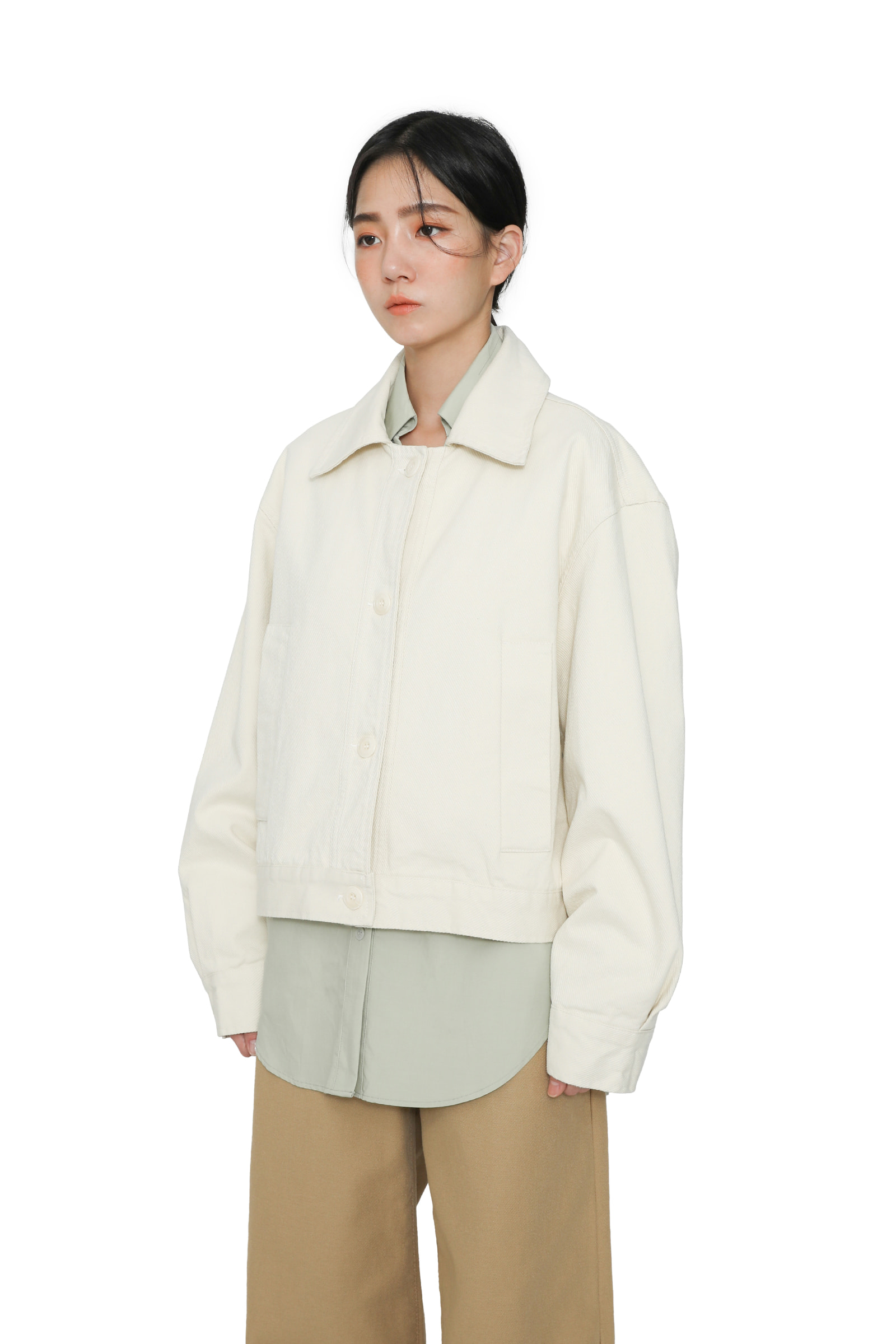 Cotton twill button-up jacket