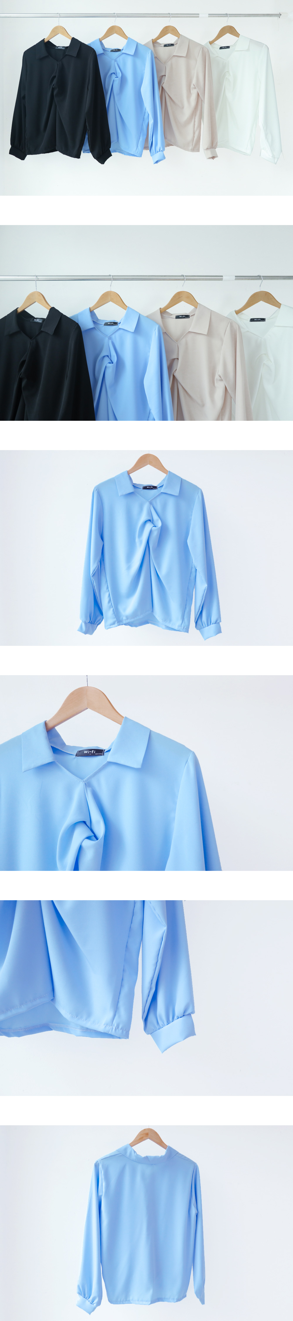 Twisted collar shirt blouse