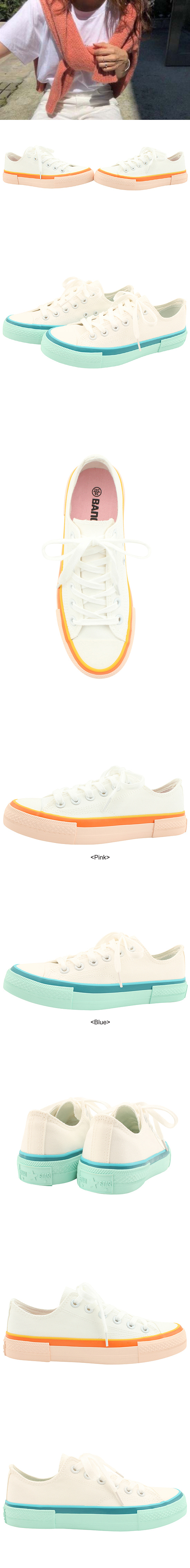 Two-tone canvas sneakers blue