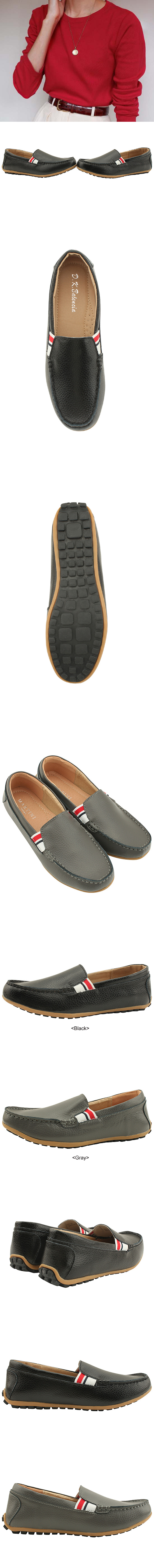 Cowhide Banding Driving Loafers Black