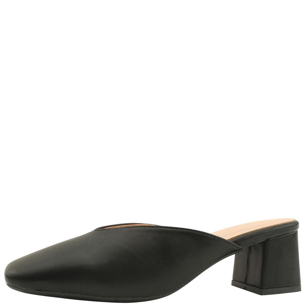Square Toe Middle Heel Mule Blocker 5cm Black