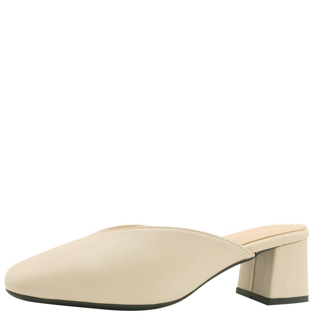 Square Toe Middle Heel Mule Blocker 5cm Beige