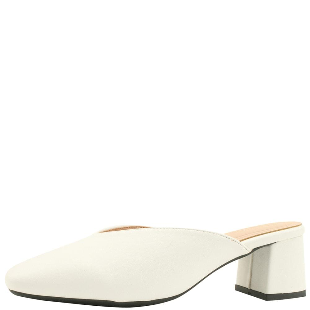Square Toe Middle Heel Mule Blocker 5cm White