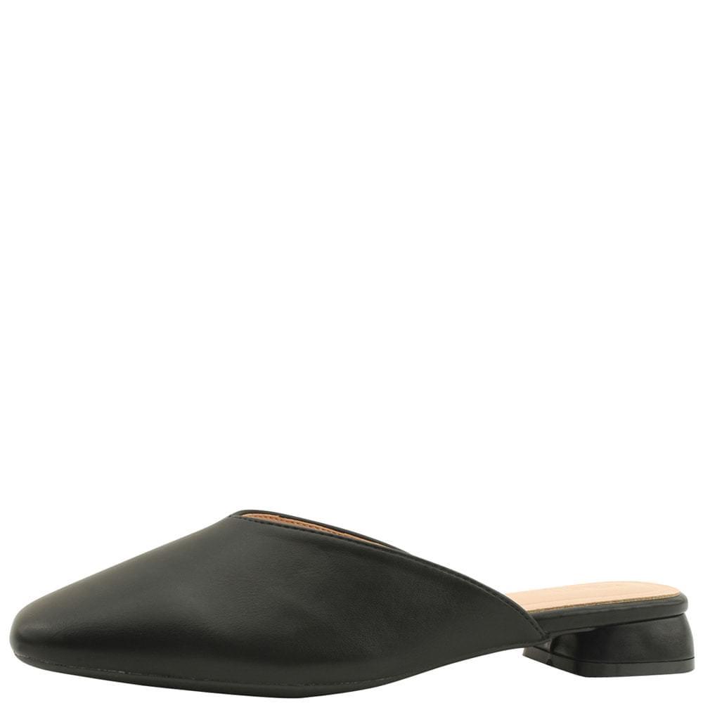 Square Toe Low Heel Flat Mule Blower Black