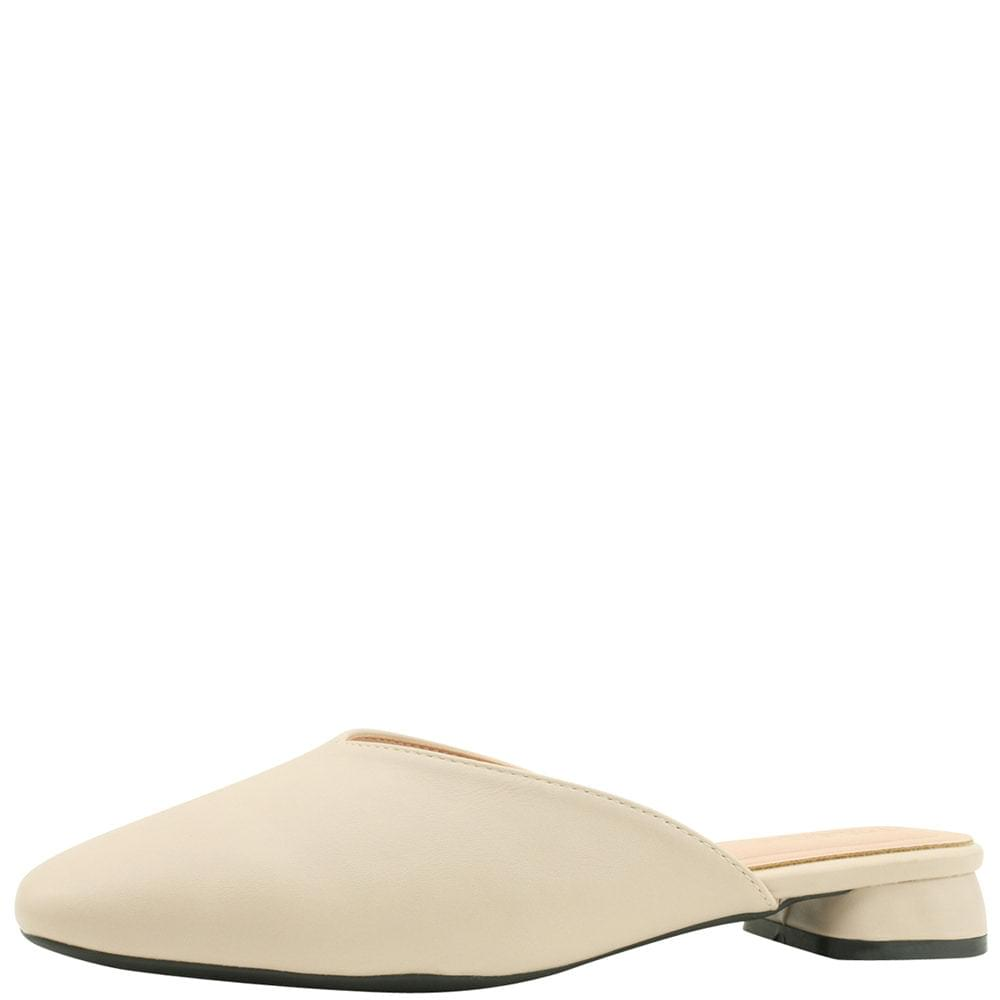 Square Toe Low Heel Flat Mule Blower Beige