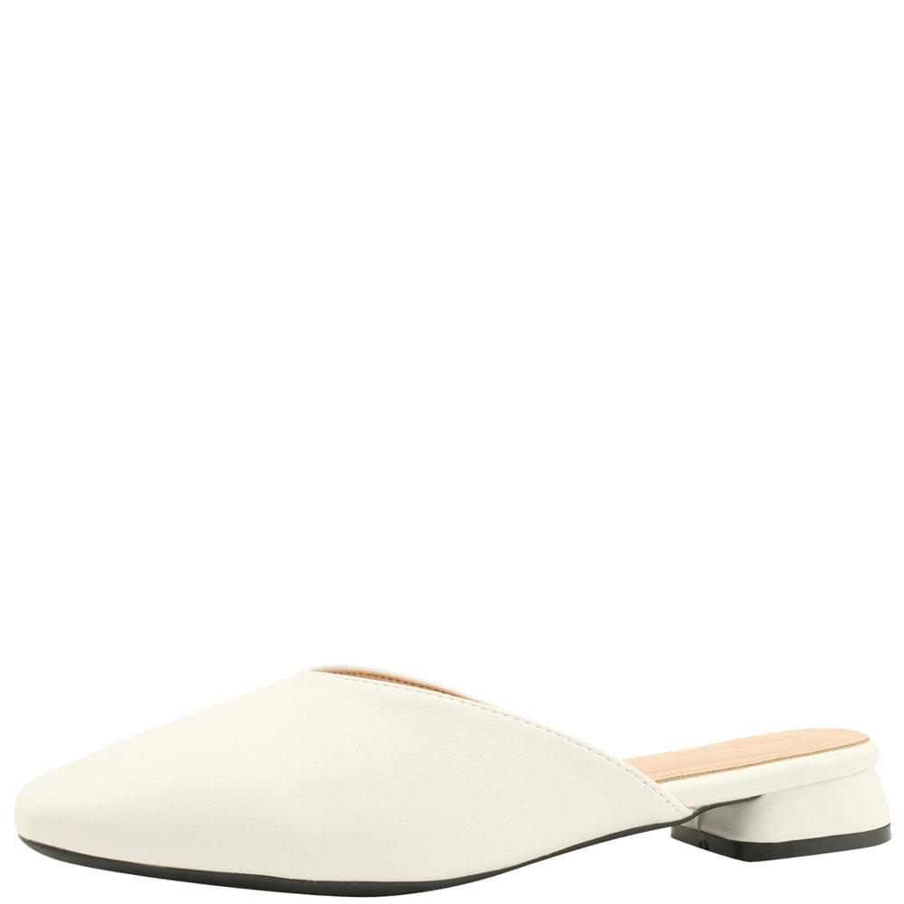 Square Toe Low Heel Flat Mule Blower White