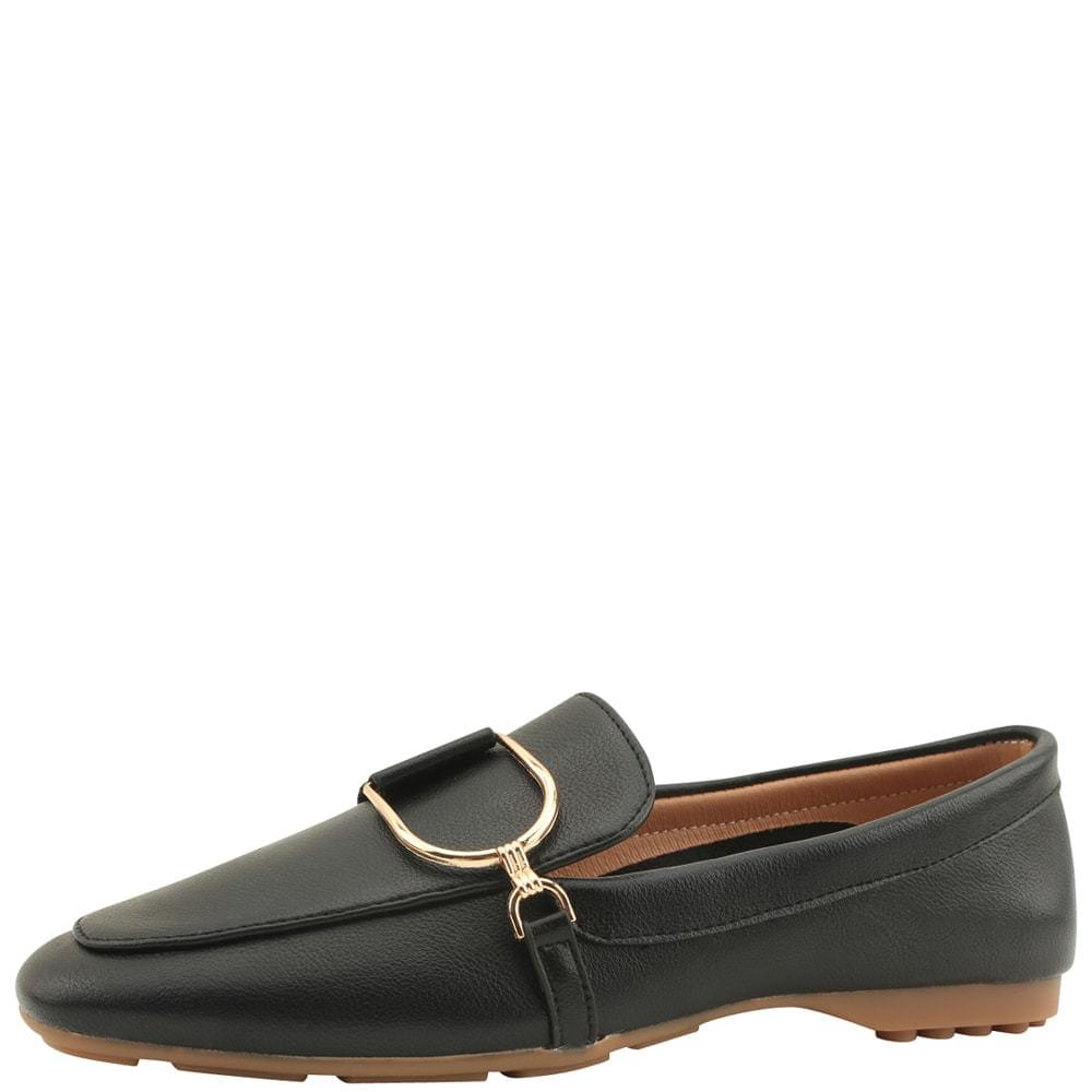 Metal Chain Driving Loafers Black