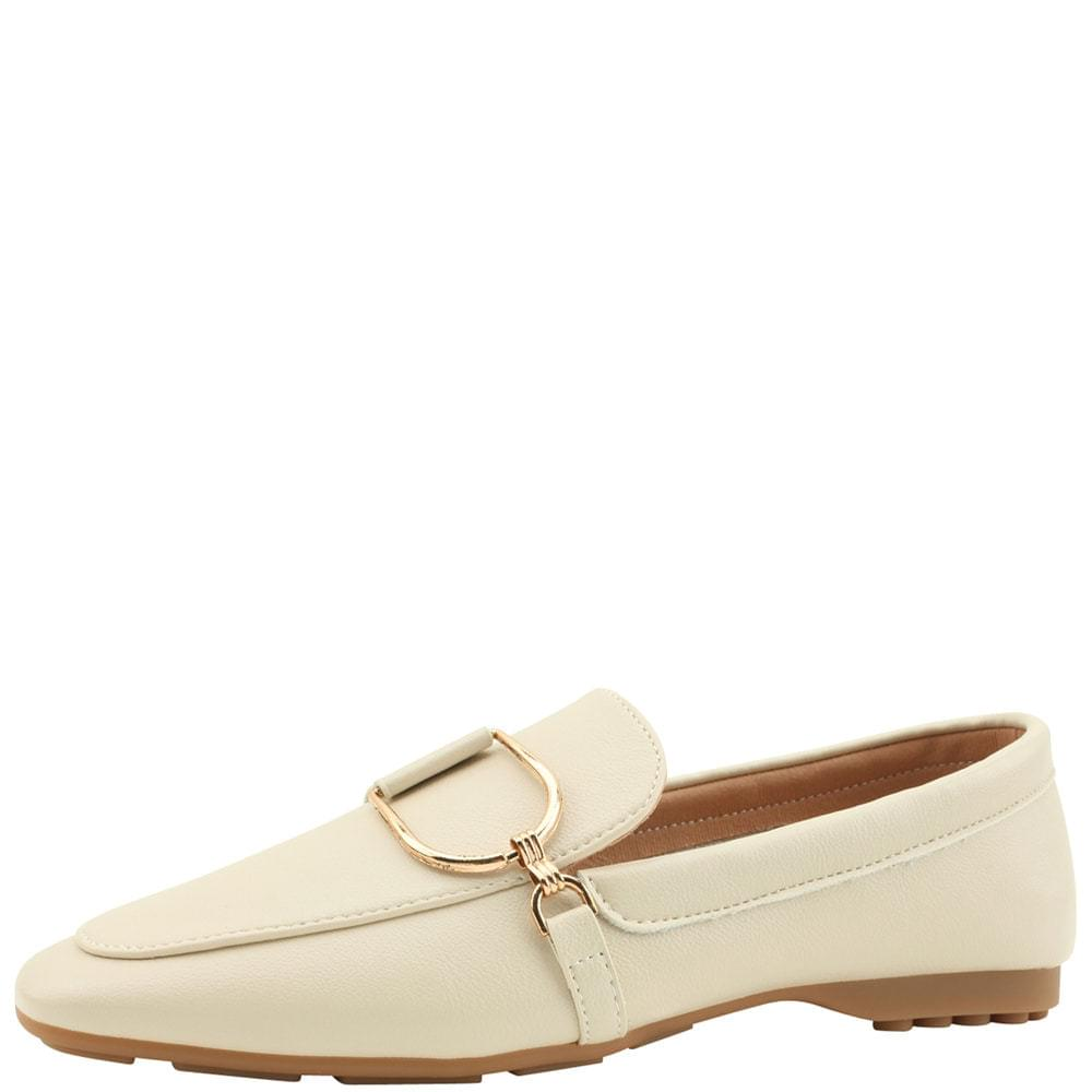 Metal Chain Driving Loafers Ivory