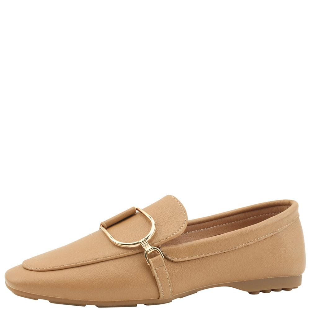 Metal chain driving loafers beige