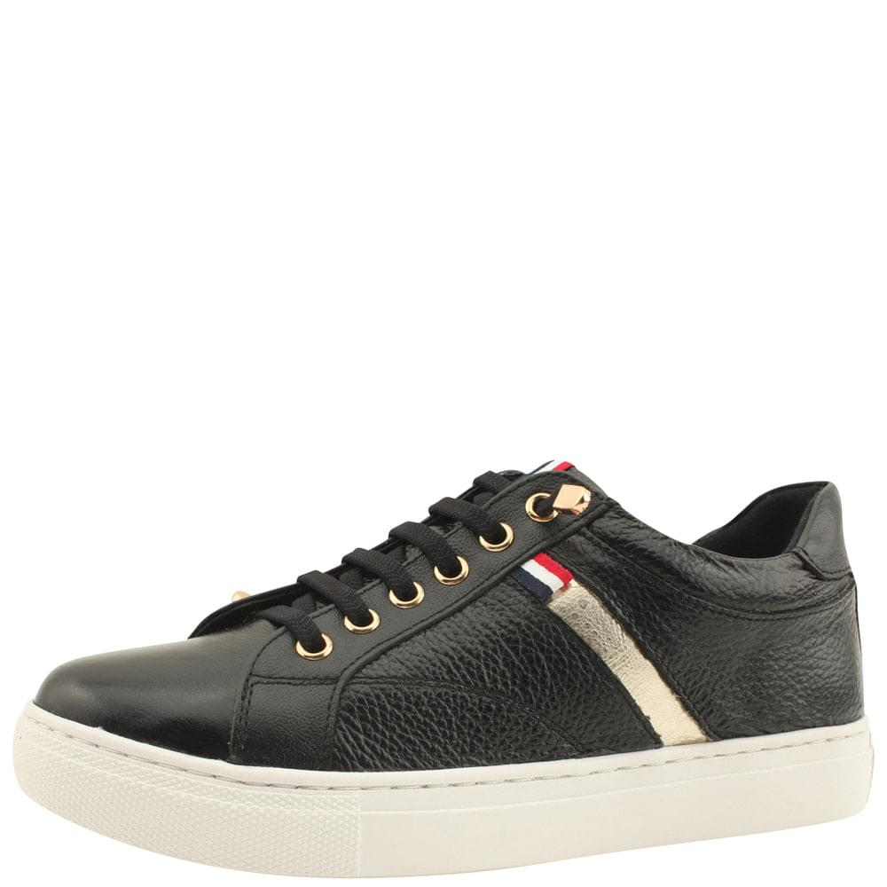 Cowhide Three-wire Banding Sneakers Black