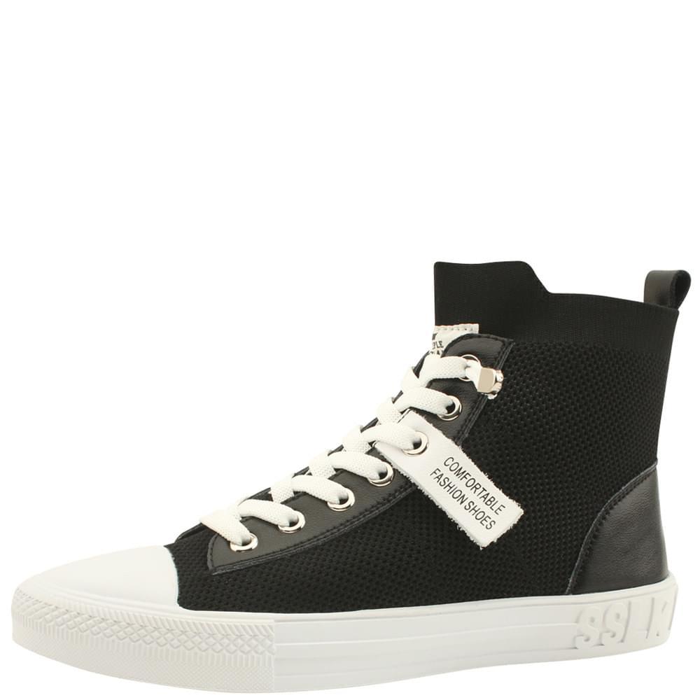 Knit Span Cowhide Ankle Sneakers Black