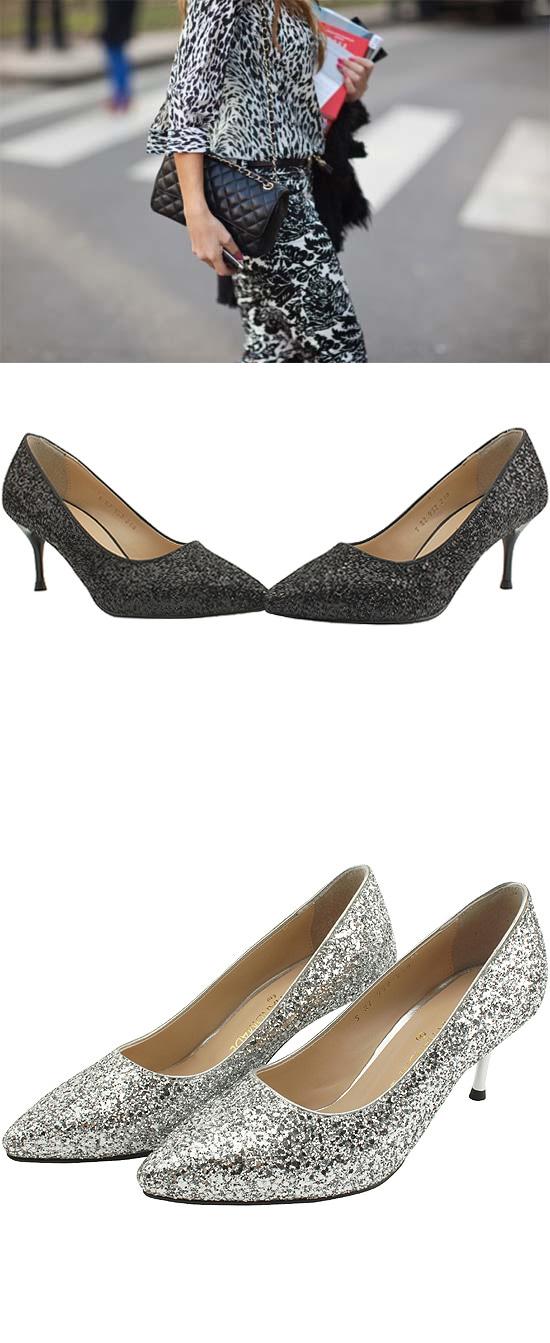 Glitter Stiletto High Heel 7cm Metal